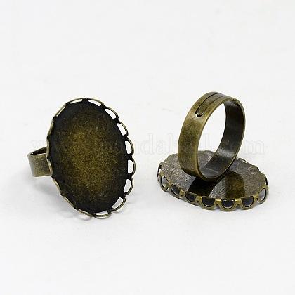 Accessoires de l'anneau bout du doigt en bronze antique de fer réglable parfait pour cabochonsX-RJEW-B032-AB-1