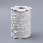 Braided Korean Waxed Polyester Cords, White, 0.8mm; about 80m/roll