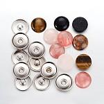 Cabuchones de piedras preciosas, plano y redondo y latón encajen cabochon de los bases del botón, color mezclado, cabochon bases: 20 mm, Bandeja: 18 mm, mando: 5.5 mm, cabuchones de piedras preciosas: 18 mm