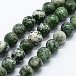 Chapelets de perles en jaspe à pois verts naturels, ronde, 8mm, trou: 0.8mm; environ 47 pcs/chapelet, 14.96