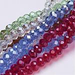 Mixed Handmade Glass Rondelle Beads, Faceted, about 8mm in diameter, 6mm long, hole: 1mm