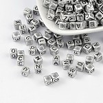 Acrylic Beads, Mixed letters, Mixed Letters, Cube, about 6mm in diameter, hole: 3mm; 2600pcs/500g