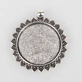 Tibetan Style Alloy Pendant Cabochon Settings, Sun, Antique Silver, Flat Round Tray: 30mm; 45x39x2mm, Hole: 4mm