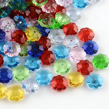 Flower Transparent Glass Beads, Marguerite Beads, Faceted, Mixed Color, 9.5~10x4mm, Hole: 1mm