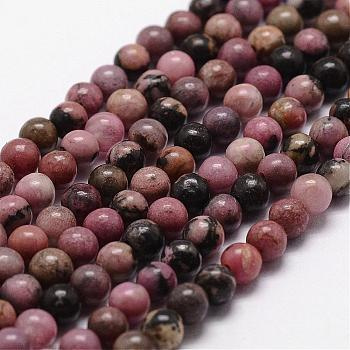 Natural Rhodonite Beads Strands, Round, 8mm, Hole: 1mm; about 44pcs/strand, 14.9''~15.1''