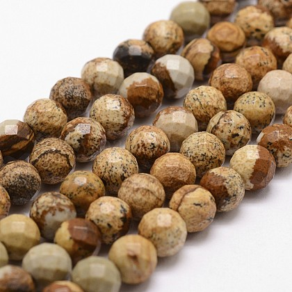 Natural Picture Jasper Beads Strands G-G736-27-6mm-1