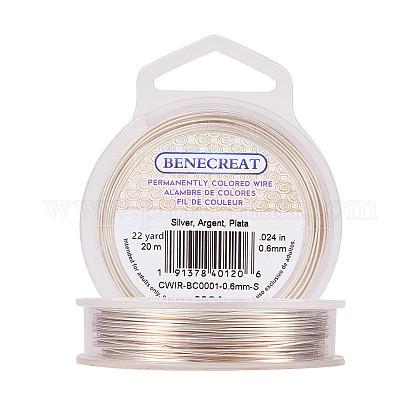 BENECREAT 22-Gauge Tarnish Resistant Silver Coil WireCWIR-BC0001-0.6mm-S-1