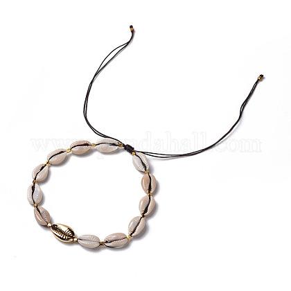 Collares de gargantilla trenzados de concha de cowrieNJEW-JN02387-01-1