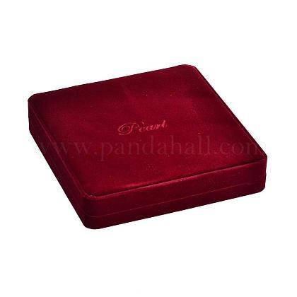 Квадратные пластиковые покрыты бархатными ожерелье коробкиNDIS-K001-05-1