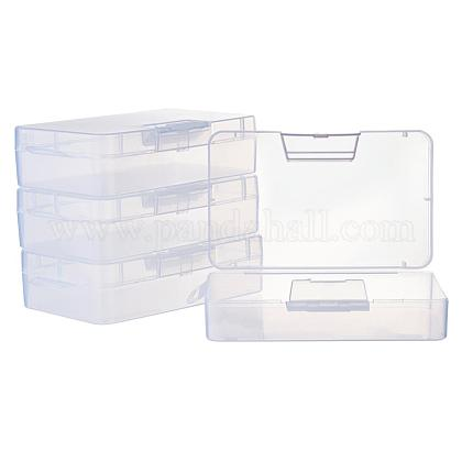 BENECREAT 4 Pack 16x9x4cm Large Clear Plastic Box Container Clear Storage Organizer with Hinged Lid for Small Craft Accessories Office Supplies ClipsCON-BC0005-34-1