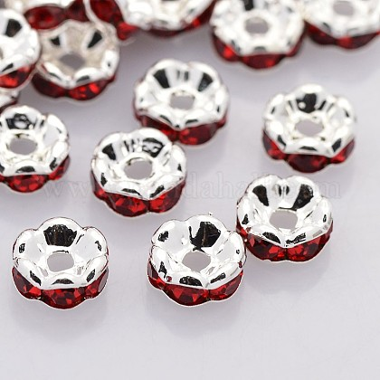 Brass Rhinestone Spacer Beads RB-A014-L8mm-21S-NF-1