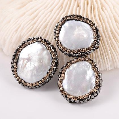 Cuentas redondas planas naturales de perlas cultivadas de agua dulceBSHE-P004-02-1