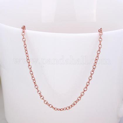 Real Rose Gold Plated Tin Alloy Cable Chain Necklace MakingNJEW-BB10198-18-1
