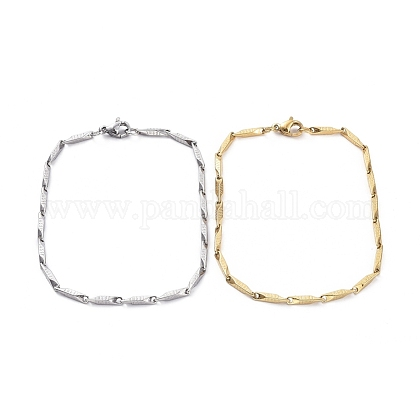 Unisexo 304 acero inoxidable pulseras de cadena de eslabones de barraBJEW-E372-05A-1