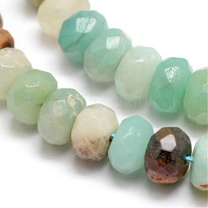 Perles rondelles en amazonite naturelle facettéeG-K090-12-1