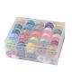 402 hilo de coser de poliéster, bobinas de plástico y caja transparente, color mezclado, 0.1 mm; 50 m / rollo, 50 rollo / caja
