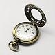 Cabezas vendimia huecos planos redondos de aleación de zinc reloj de cuarzo reloj de bolsillo para el collar del colganteWACH-R005-40-3