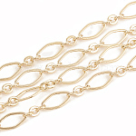 Brass Chains, with Spool, Soldered, Real 18K Gold Plated, 9x4.5x0.4mm; 30m/roll
