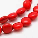 Chapelets de perles en turquoise de synthèse plat rond, teinte, rouge, 16x6mm, trou: 1mm; environ 25 pcs/chapelet, 15.7