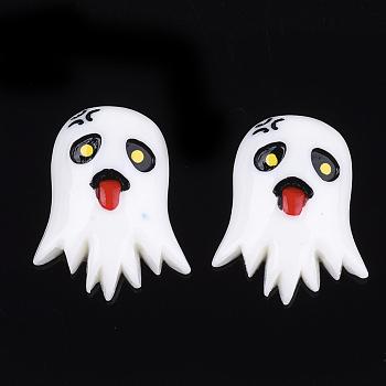 Кабошоны из смолы, Призрак Хэллоуина, белые, 28~29x22~23x6.5 мм