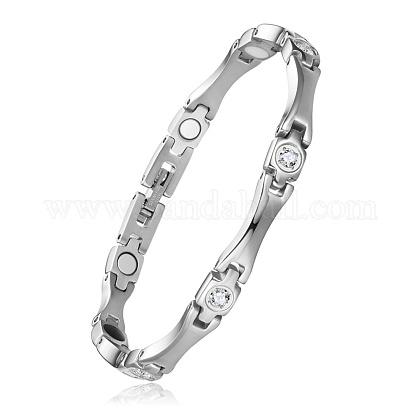 Shegrace® brazaletes de banda de reloj de cadena de pantera de acero inoxidableJB676A-1