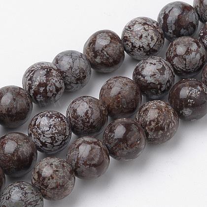 Натуральные коричневые бусины из обсидиана снежинкаG-S272-02-10mm-1