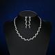 Shining Brass Rhinestone Wedding Bride Jewelry SetsSJEW-BB15895-6