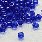 Perles de rocaille en verre transparent fgb® 12/0, Grade a, ronde, midnightblue, 2x1.5mm, Trou: 0.8mm