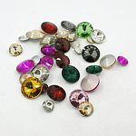 Glass Pointed Back Rhinestone, Rivoli Rhinestone, Back Plated, Pointed Back & Faceted, Cone, Mixed Style, Mixed Color, 8~18x5~8mm