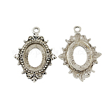 Tibetan Style Open Back Pendant Cabochon Settings,  Lead Free & Nickel Free, Oval, Antique Silver, 36x26x2mm, Hole: 3mm, Tray: 18x13mm