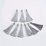 Nylon Tassels Big Pendant Decorations, with Antique Silver Alloy Findings, Gray, 55~67x7mm, Hole: 2mm