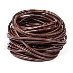 3mm Saddle Brown Color Cowhide Leather Beading Cords, DIY Jewelry Making Material for Leather Wrap Bracelets