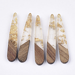 Resin & Wood Pendants, with Gold Foil, Teardrop, Gold, 44x7.5x3mm, Hole: 1.2mm