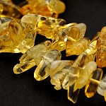 Grade A Natural Citrine Bead Strands, Chips, 10~26x3~10x2~10mm, Hole: 1mm; about 15.7