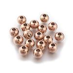 Круглые 304 из нержавеющей стали бусины, розовое золото , 8x6.5 мм, отверстие : 3.5 мм