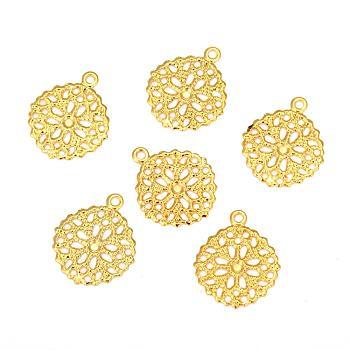 フラットラウンド真鍮の花の細工のパーツチャームペンダント  ゴールドカラー  15x13x0.5mm  穴:1mm