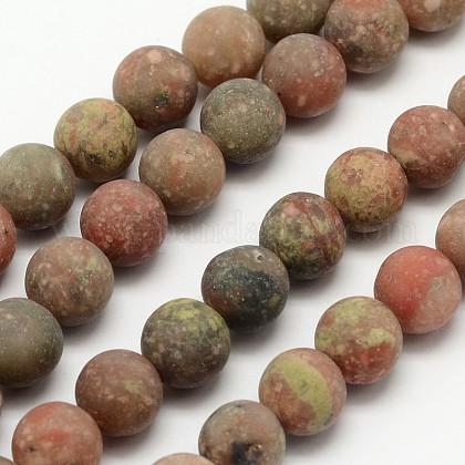 Natural Unakite Beads StrandsG-D689-12mm-1