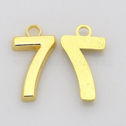 Encantos de número de aleación de zinc chapado en rackX-PALLOY-A062-7G-NR-1
