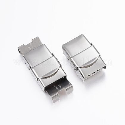 Rectangle 304 Stainless Steel Watch Band Clasps STAS-F067-08-1