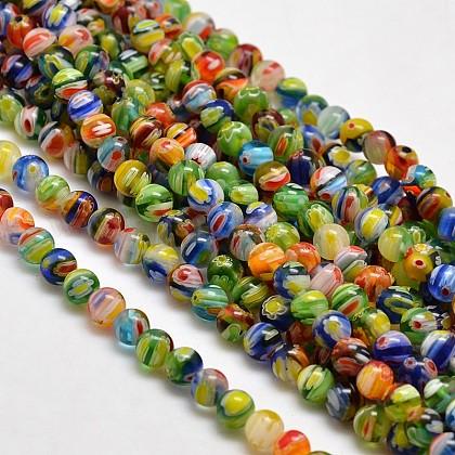 Round Millefiori Glass Beads StrandsLK-P001-05-1