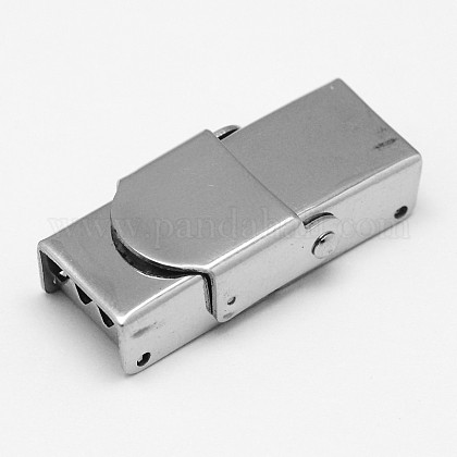 Rectangle 304 Stainless Steel Watch Band Clasps STAS-F067-02-1