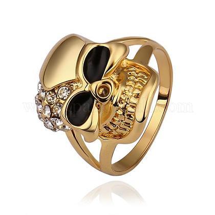 Fashion Jewelry Tin Alloy Czech Rhinestone Skull Rings For WomenRJEW-BB14225-8G-1