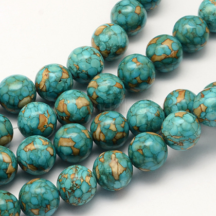 Dyed Synthetic Turquoise Round Bead StrandsTURQ-Q100-01C-01-1