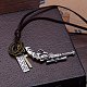 Adjustable Men's Zinc Alloy Pendant and Leather Cord Lariat Necklaces NJEW-BB16008-A-6