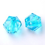 Transparent Acrylic Beads, Faceted, Round, SkyBlue, 10mm in diameter, 10mm thick, hole: 2mm, about 916pcs/500g