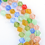 Glass Beads Strands, Faceted, Bicone, Mixed Color, 4mm, Hole: 1mm; about 83pcs/strand, 13