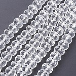 Faceted Rondelle Handmade Glass Beads, for DIY Crafting, Clear, 8x6mm, Hole: 1mm; about 68~70pcs/strand