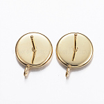 304 Stainless Steel Stud Earring Settings, with Loop, Flat Round, Golden, Tray: 8mm; 12.5x10x2mm, Hole: 2mm; Pin: 0.8mm