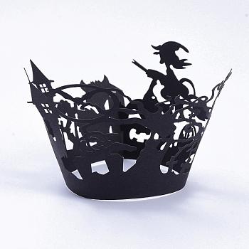 Метла ведьма Хэллоуин кекс обертки, держатели бумажных вкладышей для лазерной резки, для Хэллоуина, свадьбы, дня рождения, украшения, чёрные, 8.4x20.5x0.03 см