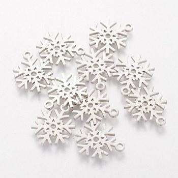 304 ciondoli in acciaio inossidabile, fiocco di neve, colore acciaio inossidabile, 15.4x11.7x1mm, Foro: 1.5 mm